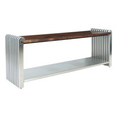 Jay Spectre Stainless Steel and Walnut Console Table