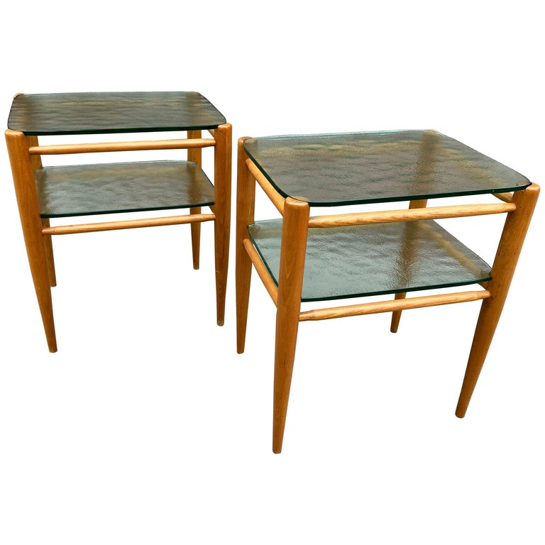 Rare Pair of Bruno Mathsson Oak and Glass Side Tables For Sale