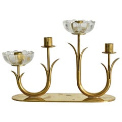 Gunnar Ander Ystad Metall Schweden Brass and Glass Flowers Candleholder
