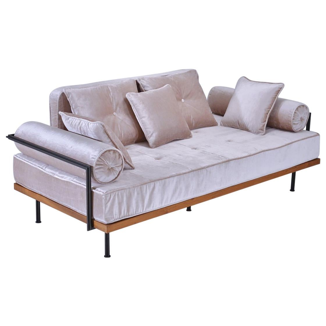 Bespoke Two-Seat Sofa, Brass & Reclaimed Hardwood Frame, P. Tendercool