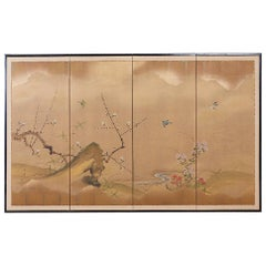 Early Showa Japanese Four Panel Screen Flora and Fauna