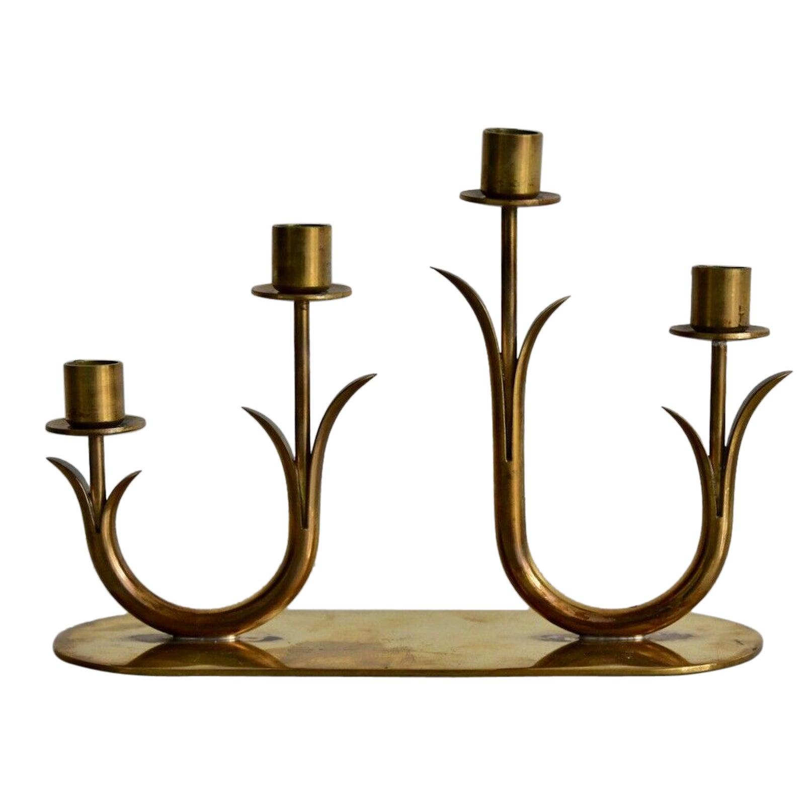 Gunnar Ander Brass Candleholder by Ystad Metall Sweden