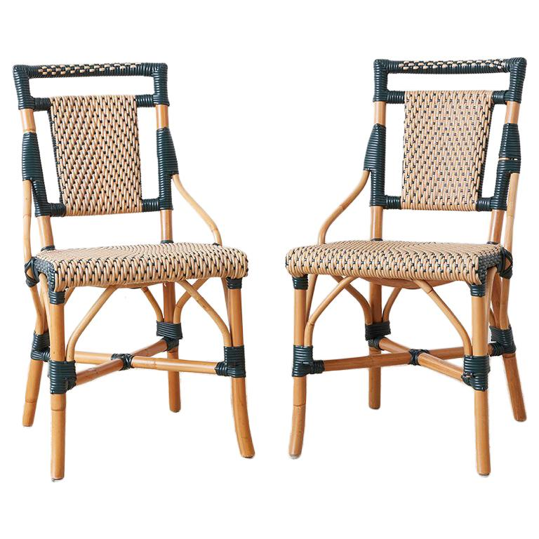 Pair of Palecek Bamboo Rattan Bistro Cafe Chairs For Sale