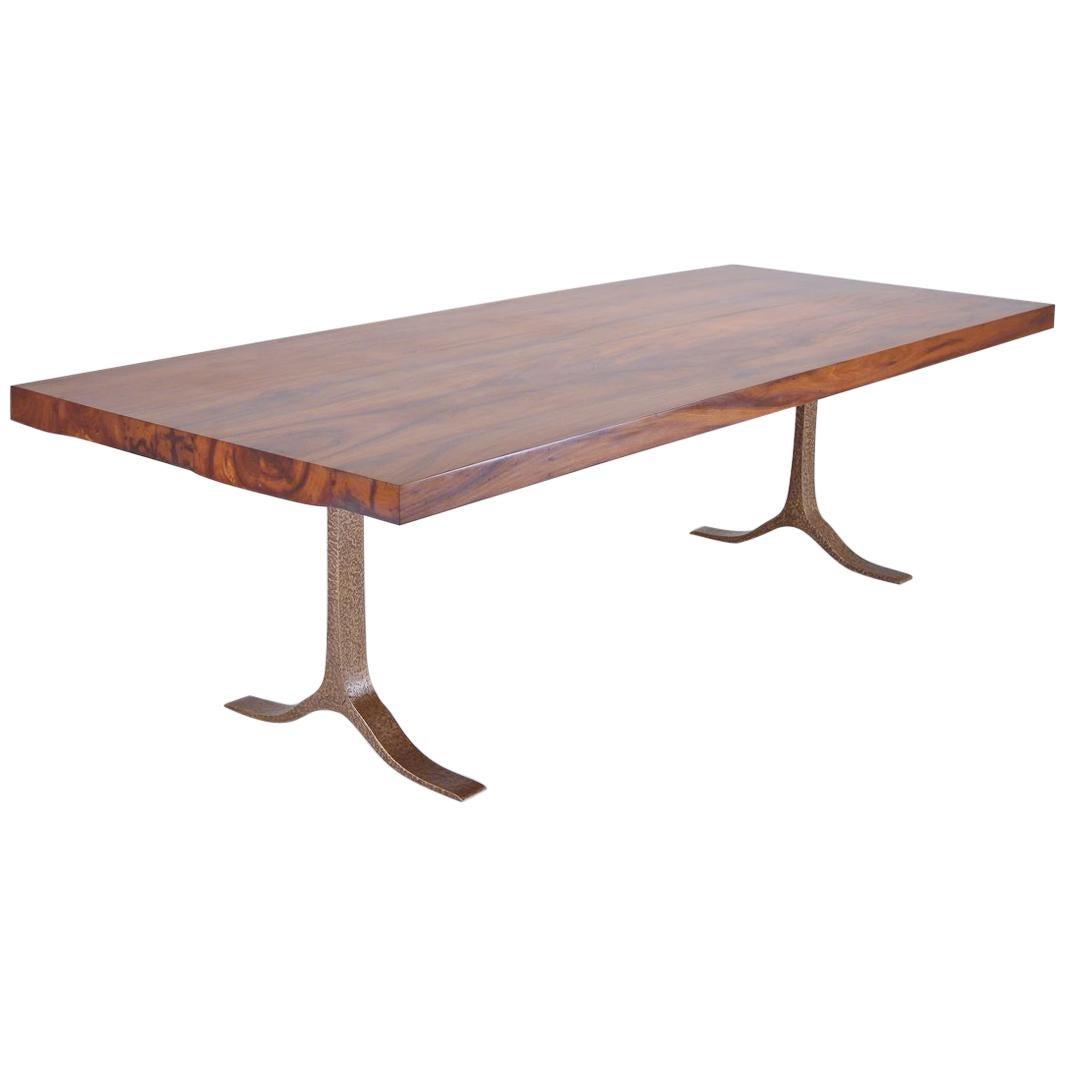 Reclaimed Hardwood Table, Sand Cast Bronze Base by P. Tendercool