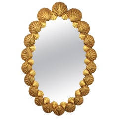 Spanish 1950s Francisco Hurtado Shells-Framed Carved Gold Giltwood Oval Mirror
