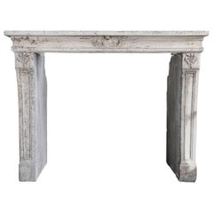 Antique Fireplace of French Limestone, Louis XVI Style, 19th Century