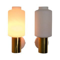 Set of 2 Glass and Brass Wall Lights for Fagerhults, Sweden, 1960s
