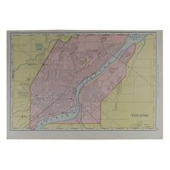 Original Antique City Plan of Toledo, Ohio USA, circa 1900