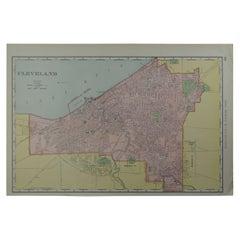 Original Antique City Plan of Cleveland, Ohio USA, circa 1900