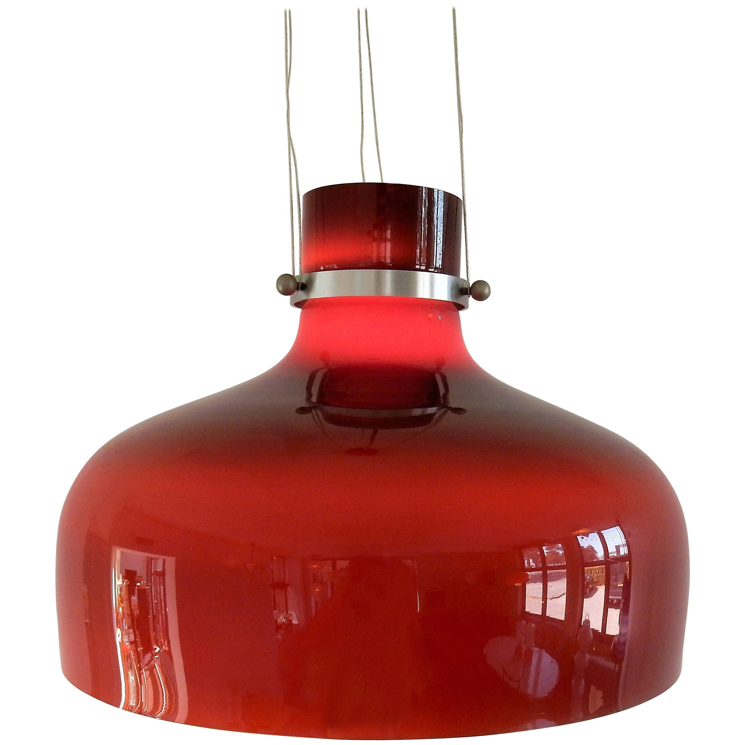 Red Triple Layered Brown/Red Glass Pendant Light, 1960s