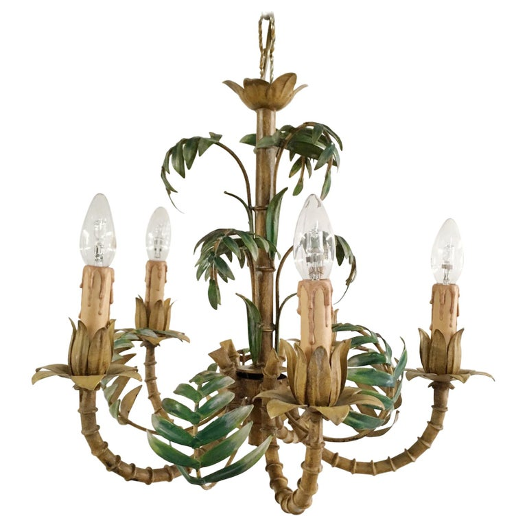 1950s Italian Faux Bamboo Tole Chandelier For Sale