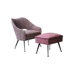 Mid-Century Modern Pink Velvet Tweed Brass Italian Armchair with Footrest, 1950