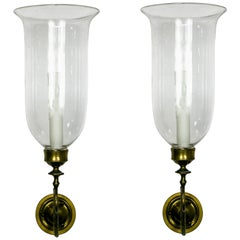19th Century Brass Scroll Hand Blown Glass Hurricane Sconces, Pair