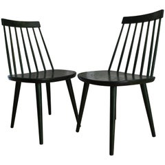 Swedish Midcentury Pinnockio Spindle Back Birch Dining Chairs by Yngve Ekström