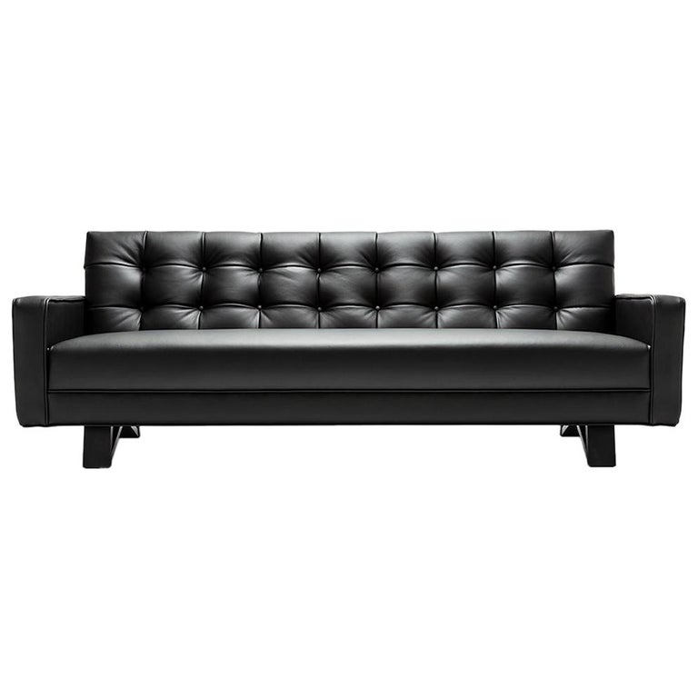 Magnificent Contemporary Adoni Obsidian Sofa In 100 British Black Leather And Natural Wax Theyellowbook Wood Chair Design Ideas Theyellowbookinfo