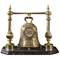 Late 19th Century French Brass Bell Clock on Stand