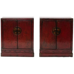 Pair of 19th Century Chinese Cabinets with Original Red Lacquer