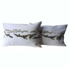 Contemporary Hand Embroidered Cushions with Silver Beading on Silk Color Oyster