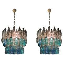 Pair of Murano Glasse Poliedri Chandeliers Carlo Scarpa Style