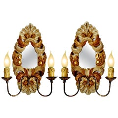 Antique Pair Italian Baroque Giltwood Girandole Mirror Double Light Wall Sconces