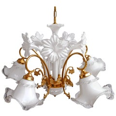 Vintage Modernist Gilt Brass Italian Murano Art Glass Flower Bouquet Chandelier