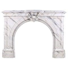 Elegant Arched Pavonazza Marble Antique Chimneypiece, Belgian Mid-19th Century