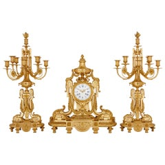 Antique French Gilt Bronze Clock Set by Royer