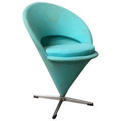 1958, Verner Panton for Rosenthal, Cone Chair in Original Turquoise Fabric