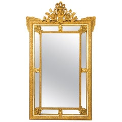 Antique French Giltwood Overmantel Louis Revival Mirror, 19th Century