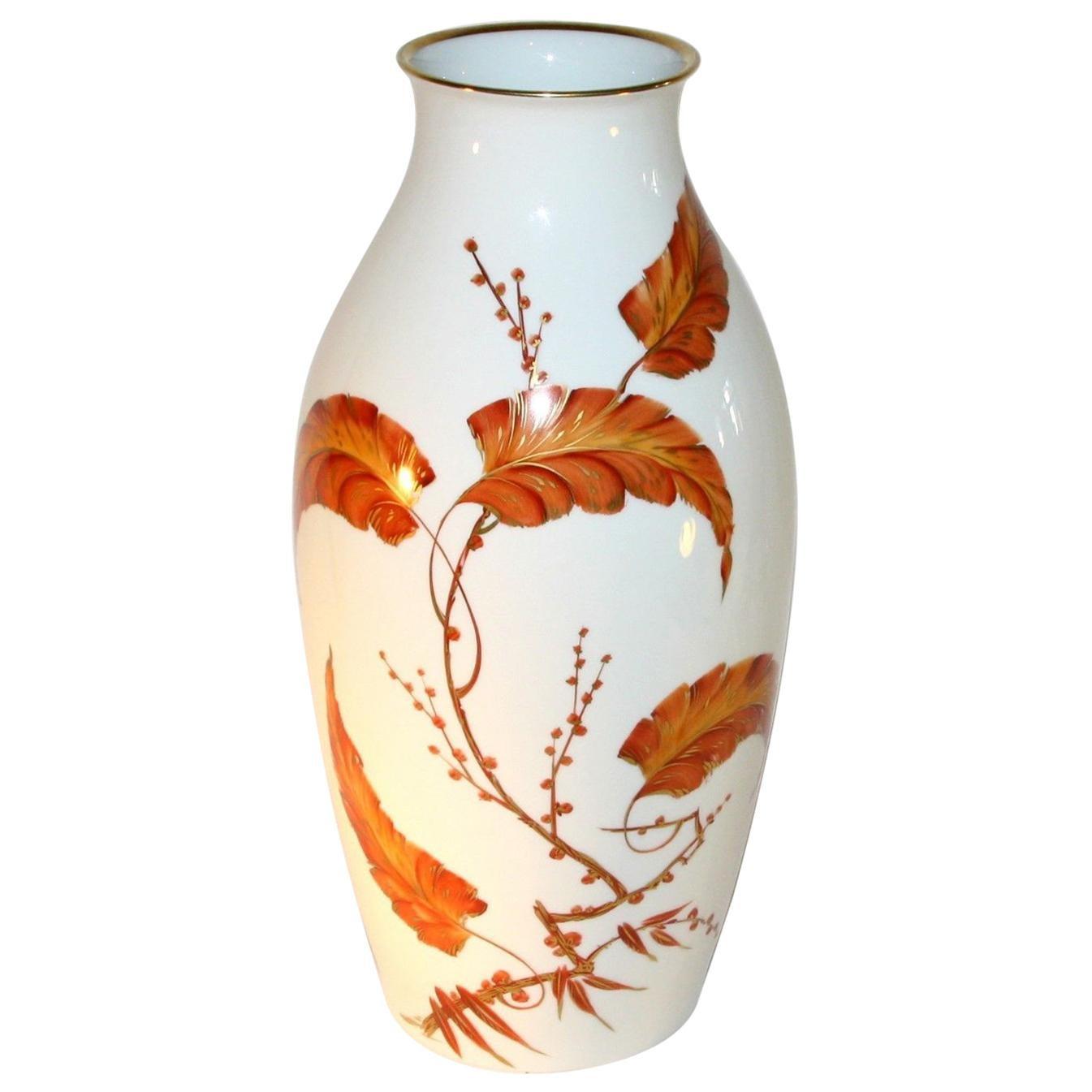 Art Deco Huge Rosenthal Vase Porcelain with Floral Hand Paintings