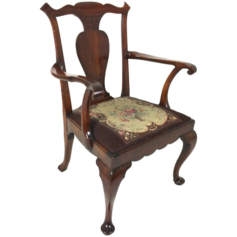 18th Century Solid Walnut Splat Back Elbow Chair For Sale
