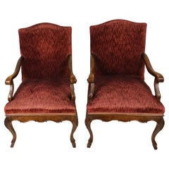 Pair of Large 19th Century French Solid Walnut Upholstered Chairs