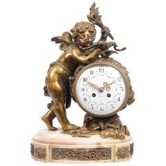 Enchanting French Ormolu Mantel Clock with Cherub, 19th Century