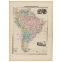 Antique Map of South America by Migeon '1880'