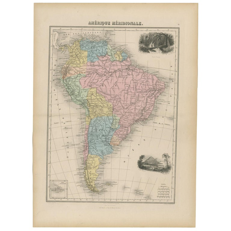 Antique Map of South America by Migeon '1880' For Sale