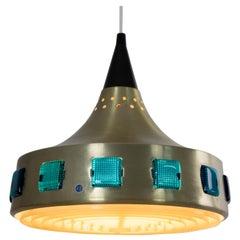 "DRGM MidCentury Space Age Golden Aluminium ""UFO"" Swedish Chandelier, 1960"