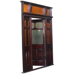 Oversized Mahogany Edwardian Tradesman Shop Sample Model Door Stained Glass