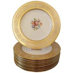 Elegant Set of 12 Gold Encrusted Floral Service Cabinet Plates