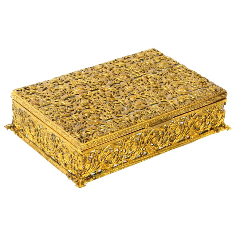 Antique French Ormolu and Mother of Pearl Casket, 19th Century For Sale