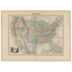 Antique Map of North America by Migeon '1880'