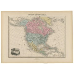 Antique Map of North and Central America by Migeon '1880'
