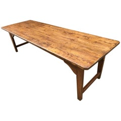 Late 19th Century Large Pale Elm Farmhouse Table