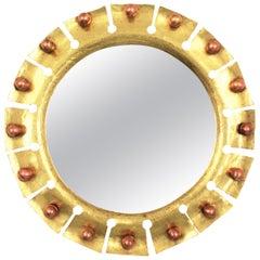 French Brass Round Sunburst Mirror with Copper Balls Details
