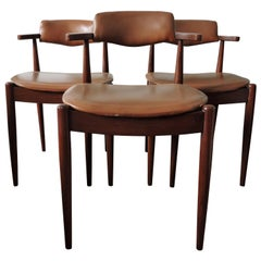 Midcentury Dark Teak and Faux Leather Upholstery Dining Chairs, Set of 3