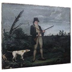 19th Century circa 1820 Oil on Canvas Georgian Hunter and Pointer Gun Dog