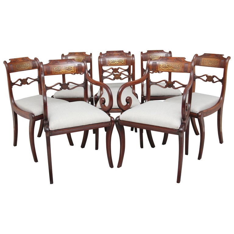 Set of Eight Regency Mahogany and Brass Inlaid Dining Chairs For Sale