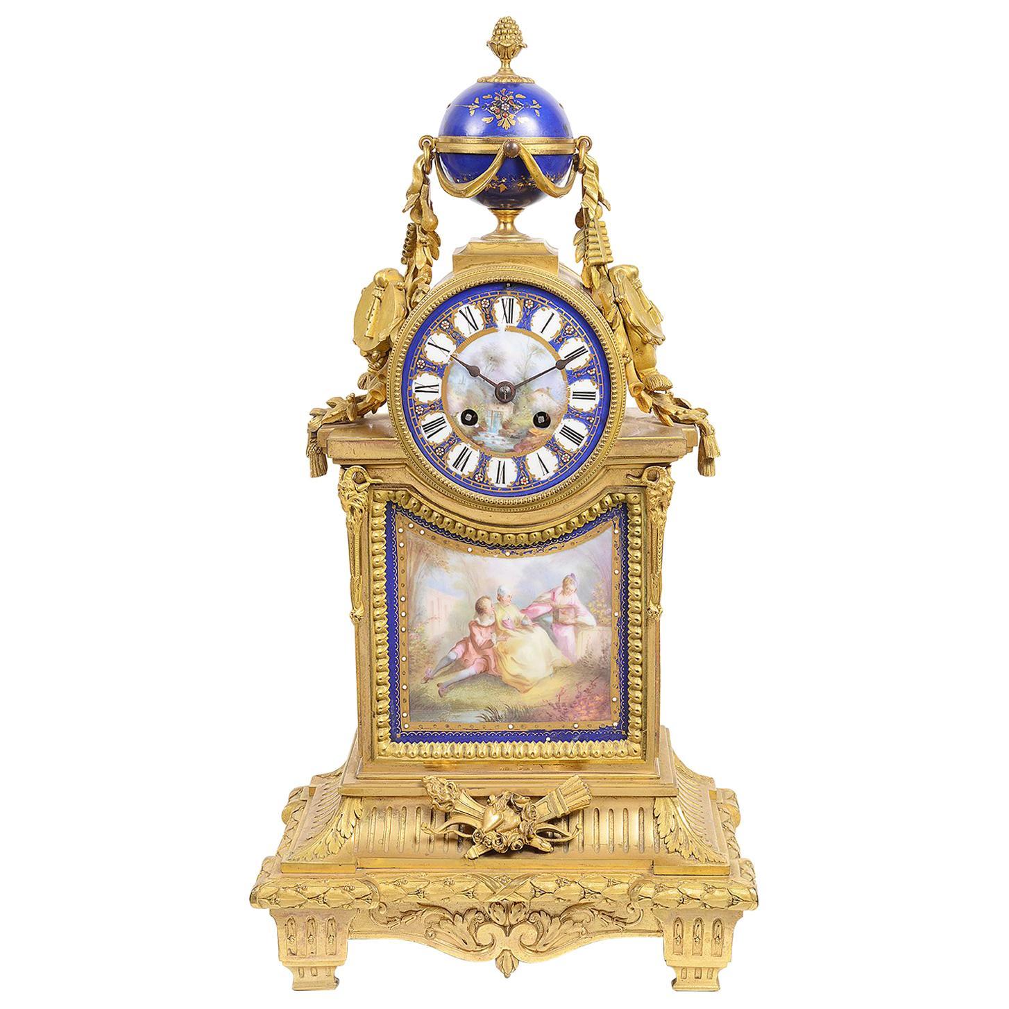 Sevres Style 19th Century Mantel Clock