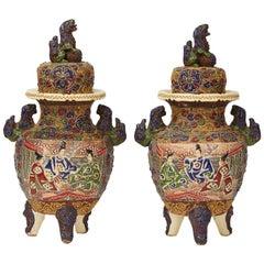 Pair of Antique Japanese Satsuma Meiji Moriage Lidded Pottery Koros Circa 1920