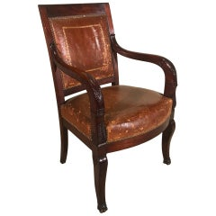 Early 19th Century French Mahogany and Embossed Leather Desk Chair