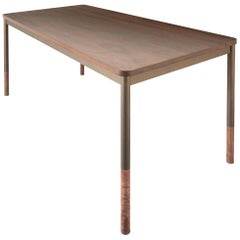 StaggerUp Dining Table, Handcrafted in Walnut with Oiled Bronze Finished Legs